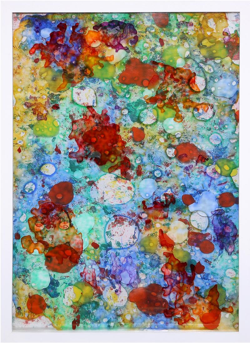 Juan Jiménez Parra - Laca de color, acrílica, acetato, madera 100 x 70 cm