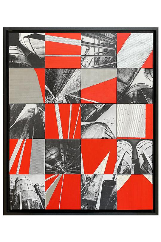 Ana Chacón Villalonga - Técnica Mixta: Transferencia de tinta, pintura vinilínica y ensamblaje de chapas metálicas sobre 20 bastidores de madera - 87x107