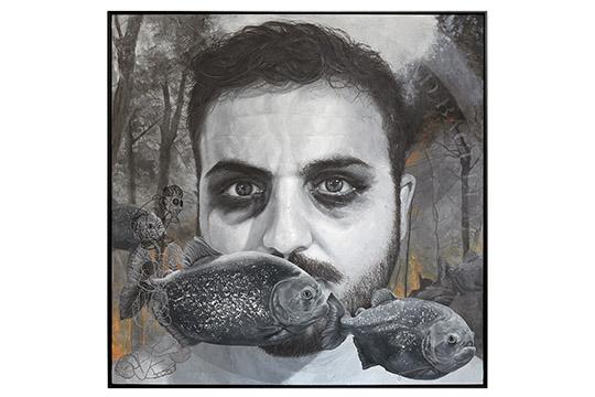 Verónica Estefanía Bueno Salgado - Acrílico, óleo y lápices sobre lienzo - 150x150